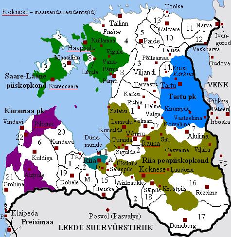 Vana-Liivimaa haldusjaotus keskaja lõpul (1534).