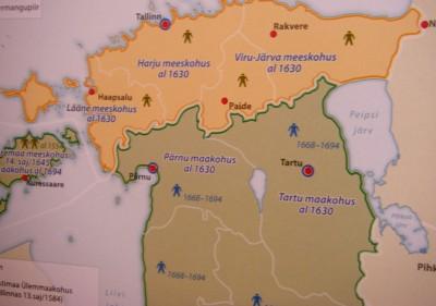 Eesti piirid Rootsi kuningriigi koosseisus.