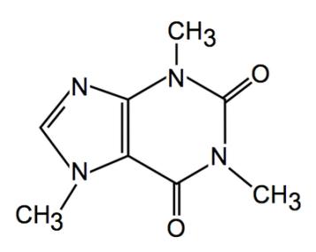 Kofeiini molekul sisaldab lisaks süsiniku ja vesiniku aatomitele ka hapniku ja lämmastiku aatomit