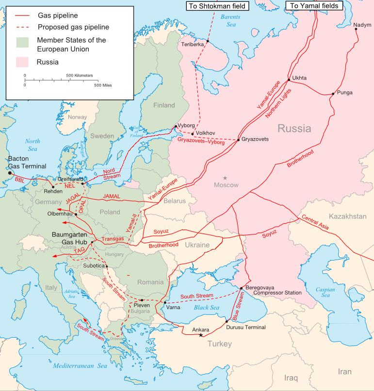 Gaasitorudevõrgustik Venemaalt Euroopasse