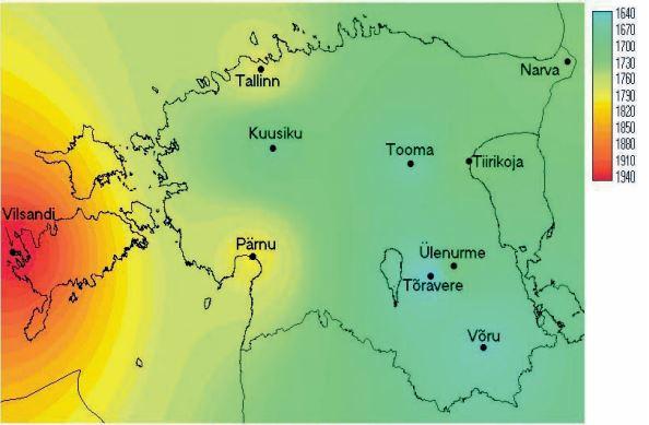 Aastased päikesepaiste keskmised kestvused tundides Eesti territooriumil
