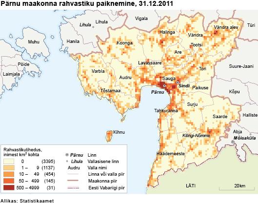 Pärnumaa rahvastiku paiknemine