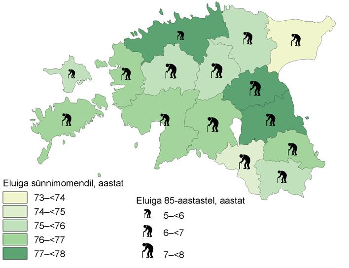 Eesti maakondade oodatav eluiga sünnimomendil 2010/2011
