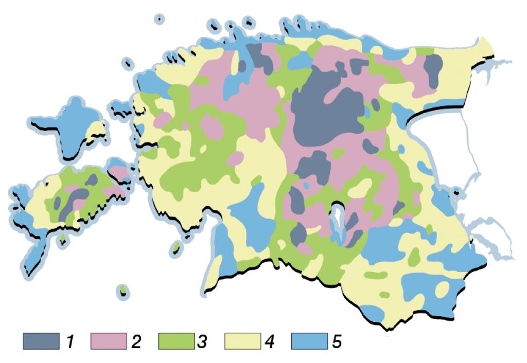 Põllumuldade viljakus. Põllumuldade keskmine boniteet (100-punktilises süsteemis): 1 kõrge (üle 55 punkti), 2 üle keskmise (50-55), 3 keskmine (45-50), 4 alla keskmise (40-15), 5 madal (alla 40)