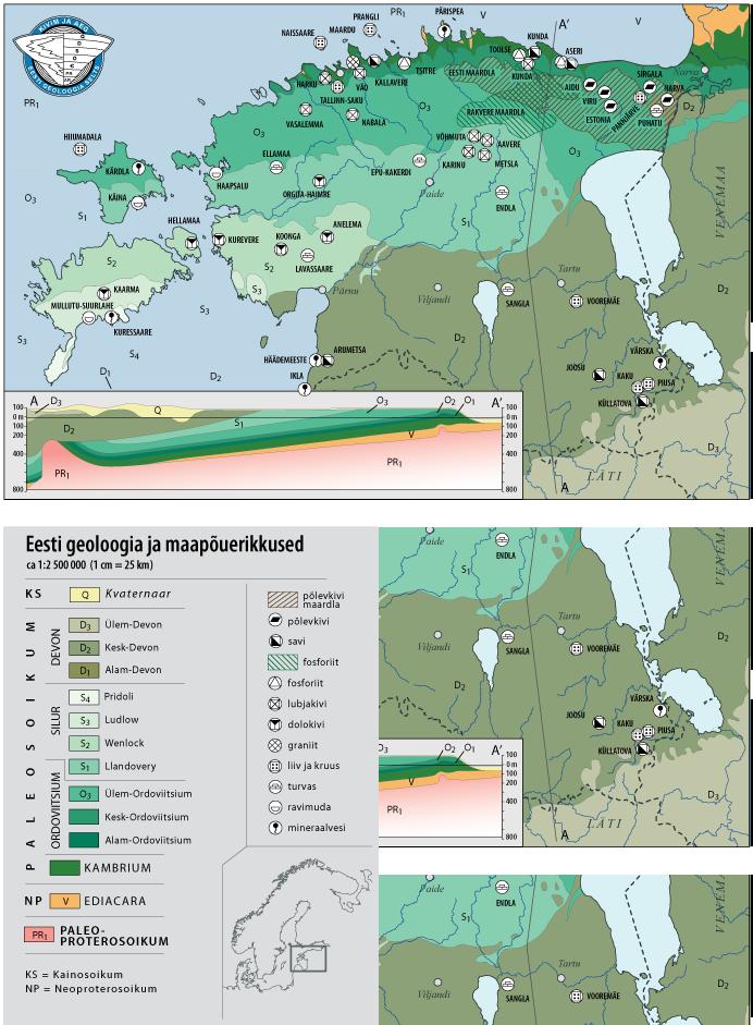 Maavarade asukohad vastavalt reljeefile