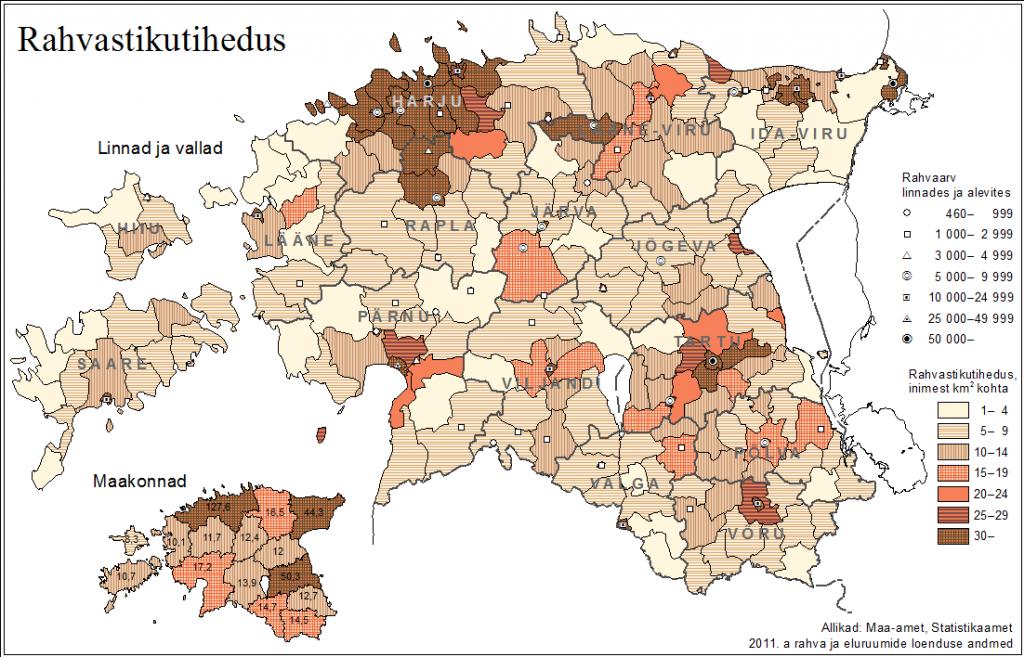 Rahvastiku tihedus 2011