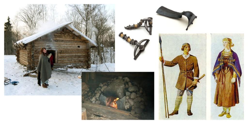 Pildil: Muinasaegse elamu rekonstruktsioon Rõuges, muinaselamu kerisahi, Eestist leitud keskmise rauaaja sõled ning näiteid baltipärasest rõivamoest.