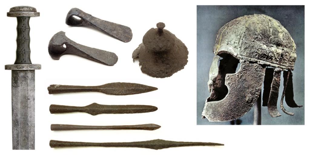 Pildil: Relvi keskmisest rauaajast. Soomest leitud mõõga rekonstruktsioon, Eestist leitud kirved, odaotsad ja kilbikupal, Rootsist leitud kiiver (Vendel).