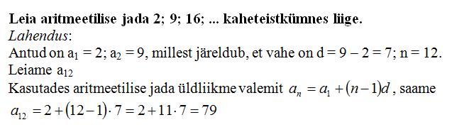 aritmeetiline jadaNäide1