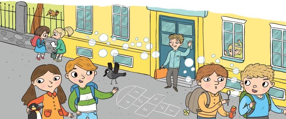 Jutulinna lapsed ja õpetaja seisavad kooli ees. Kaisa, Hopp, Madis ja Hõkk veedavad koos aega. Madis lehvitab õpetaja Villemile. Pärtel puhub koos oma sõbraga koolihoovis seebimulle.