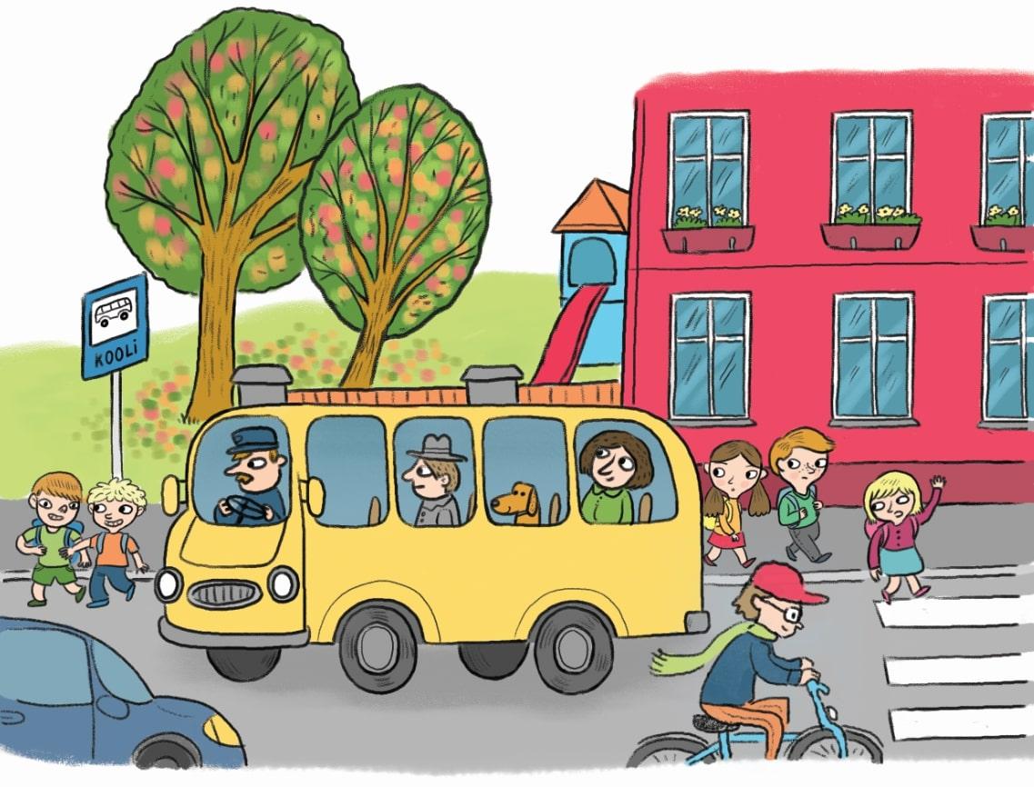 Buss peatub kooli bussipeatuses. Mööda sõidab jalgratas ja sinine auto. 3 koolilast ületavad teed ülekäiguraja juures. 2 poissi ületavad teed bussi eest, kus puudub ülekäigurada.